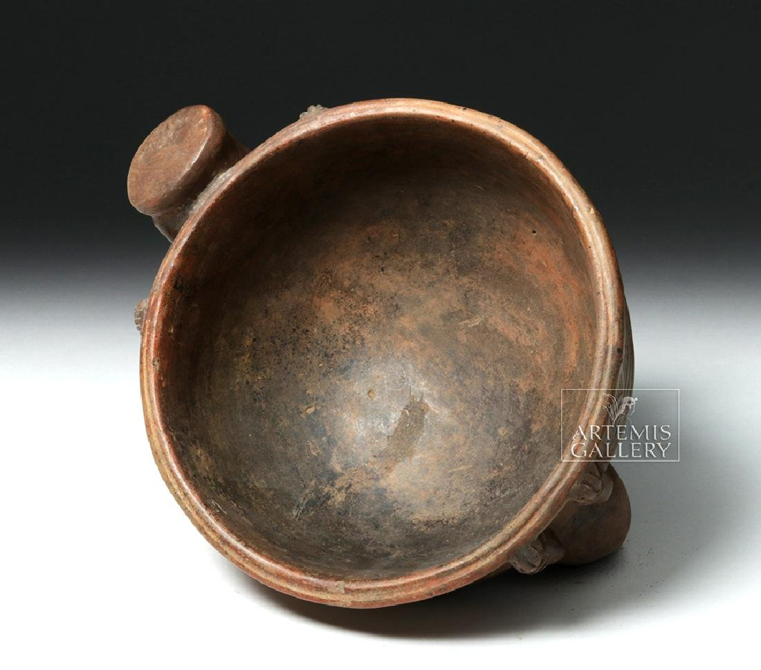 Expressive Costa Rican Pottery Tripod Rattle Bowl - 5