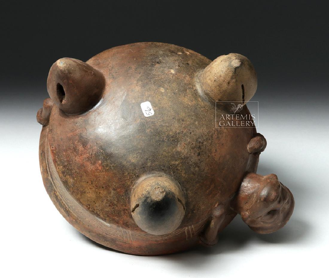 Expressive Costa Rican Pottery Tripod Rattle Bowl - 6