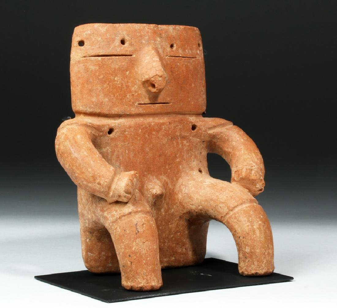 Quimbaya Seated Solid-Slab Anthropomorphic Figure