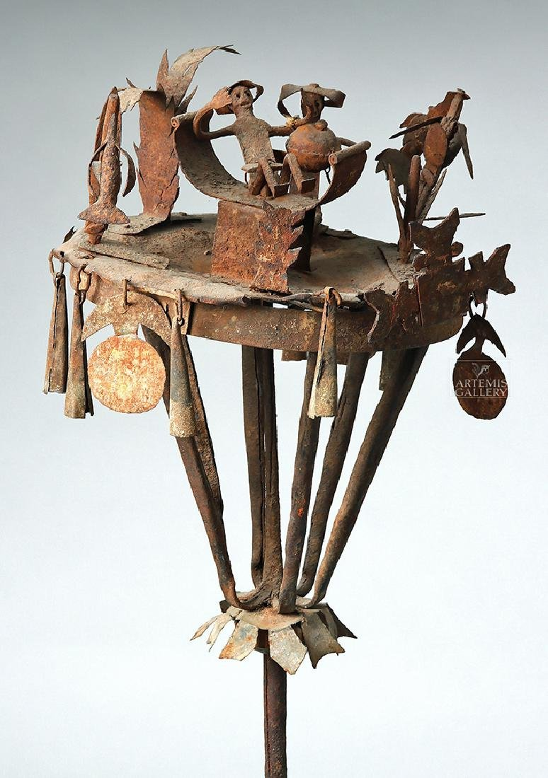 Early 20th C. African Yoruba Iron Tall Ceremonial Staff