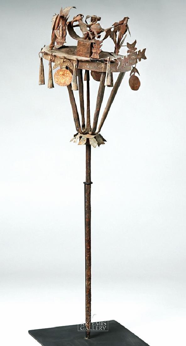Early 20th C. African Yoruba Iron Tall Ceremonial Staff - 2