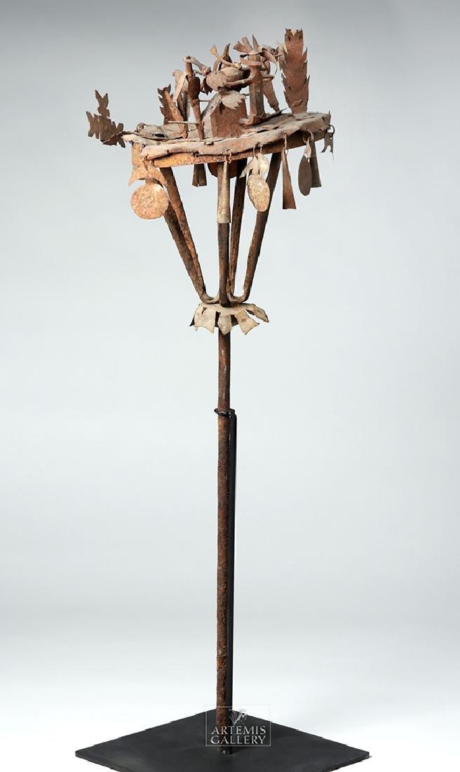 Early 20th C. African Yoruba Iron Tall Ceremonial Staff - 6