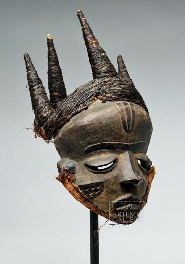Early 20th C. D. R. Congo Pende Wood Chief Mask