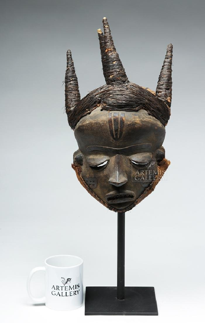 Early 20th C. D. R. Congo Pende Wood Chief Mask - 2