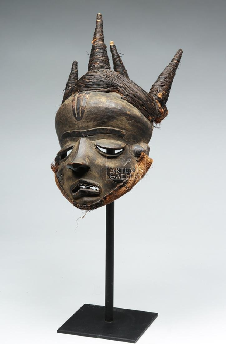 Early 20th C. D. R. Congo Pende Wood Chief Mask - 3