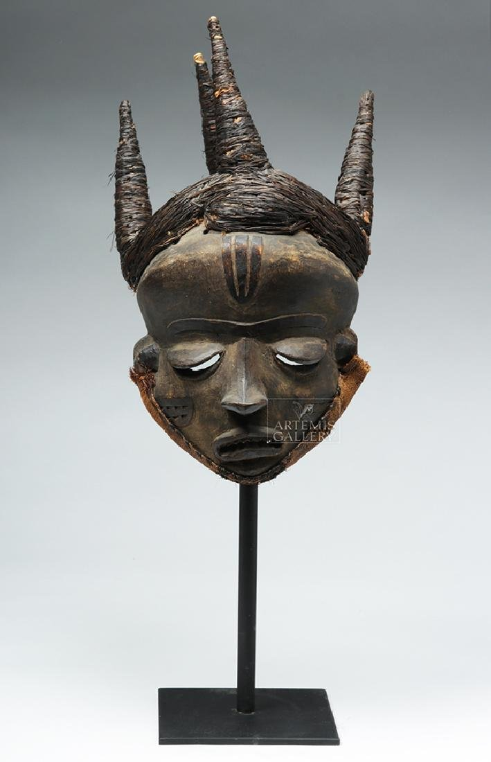 Early 20th C. D. R. Congo Pende Wood Chief Mask - 7
