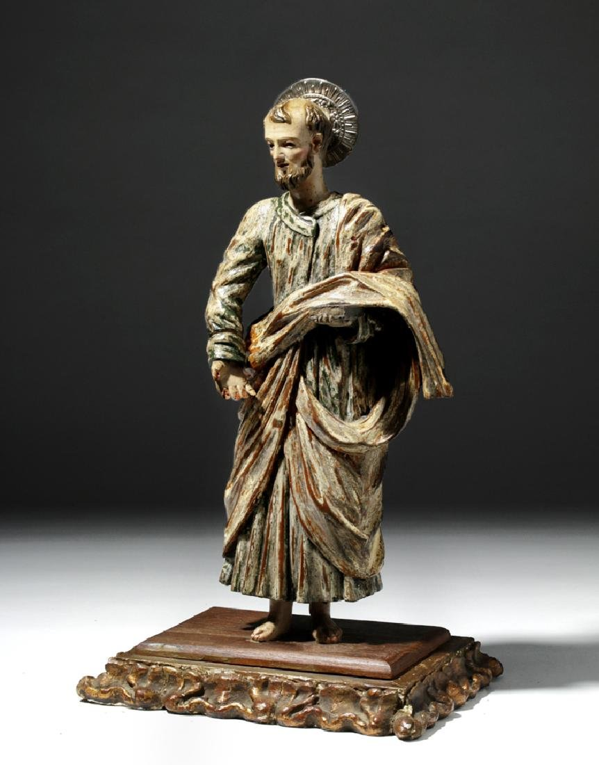 Early 19th C. Mexican Wood Santo - Saint Paul