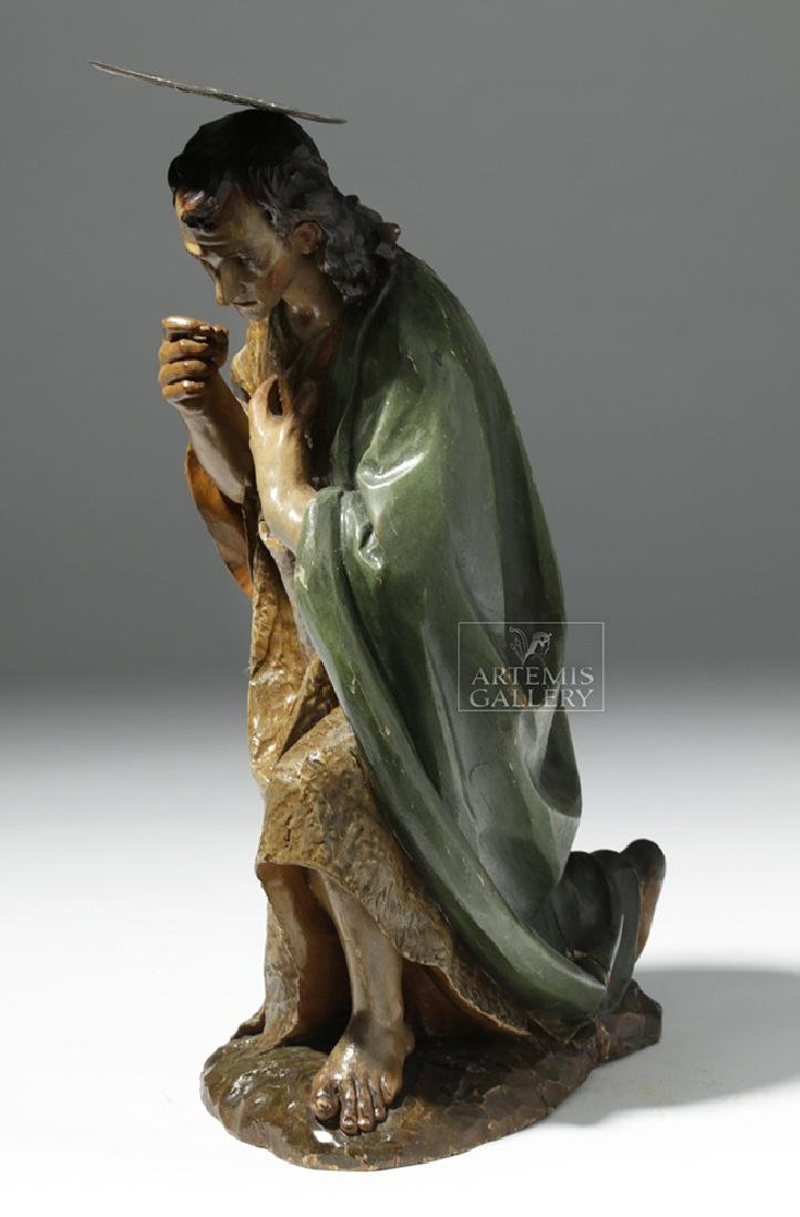 19th C. Mexican Wood Kneeling Christ Santo w/ Corona - 2