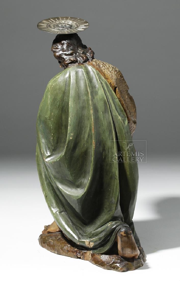 19th C. Mexican Wood Kneeling Christ Santo w/ Corona - 3
