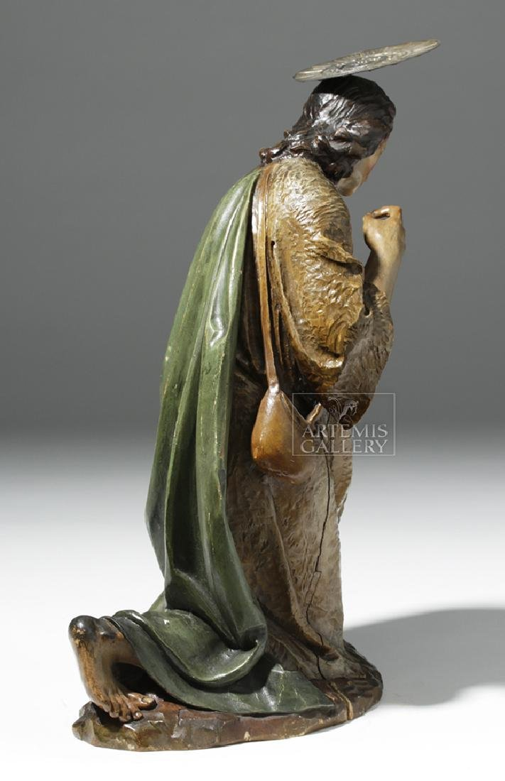 19th C. Mexican Wood Kneeling Christ Santo w/ Corona - 4