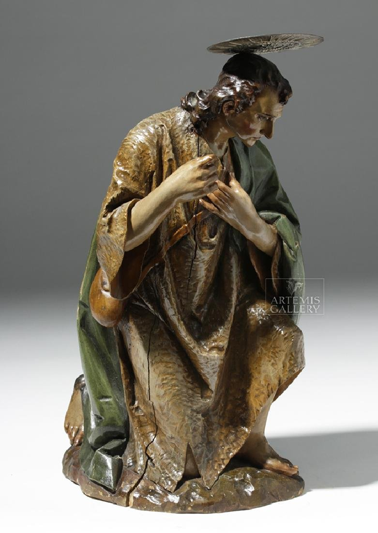 19th C. Mexican Wood Kneeling Christ Santo w/ Corona - 5