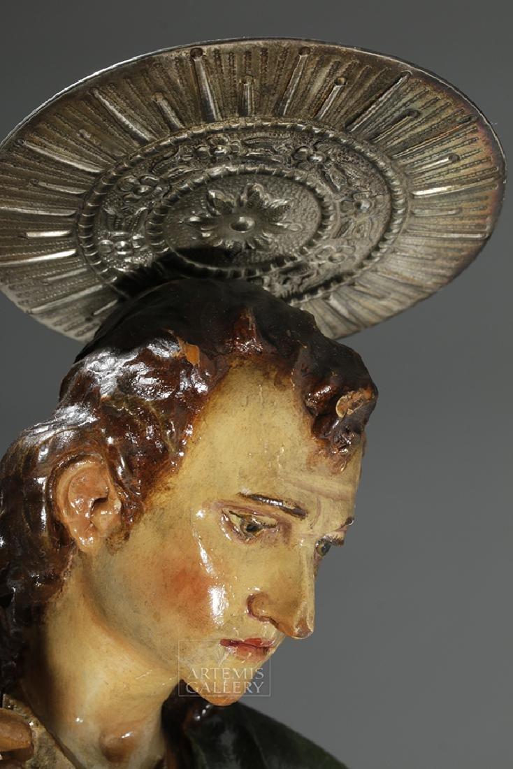 19th C. Mexican Wood Kneeling Christ Santo w/ Corona - 6