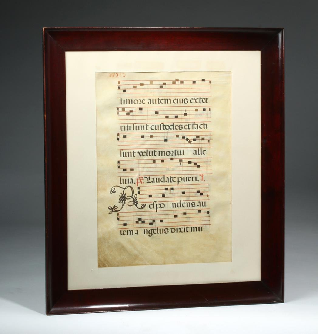 Framed 16th C. Spanish Hymnal Page