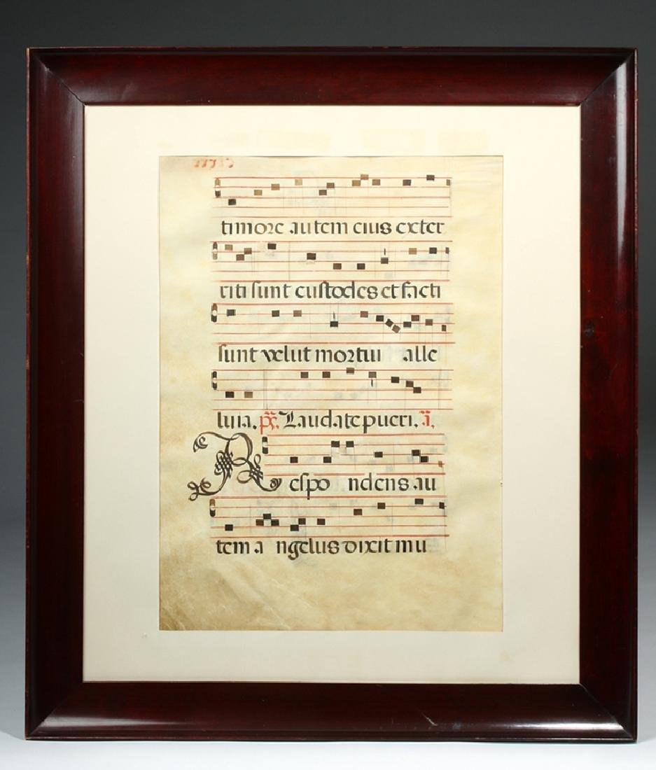 Framed 16th C. Spanish Hymnal Page - 3