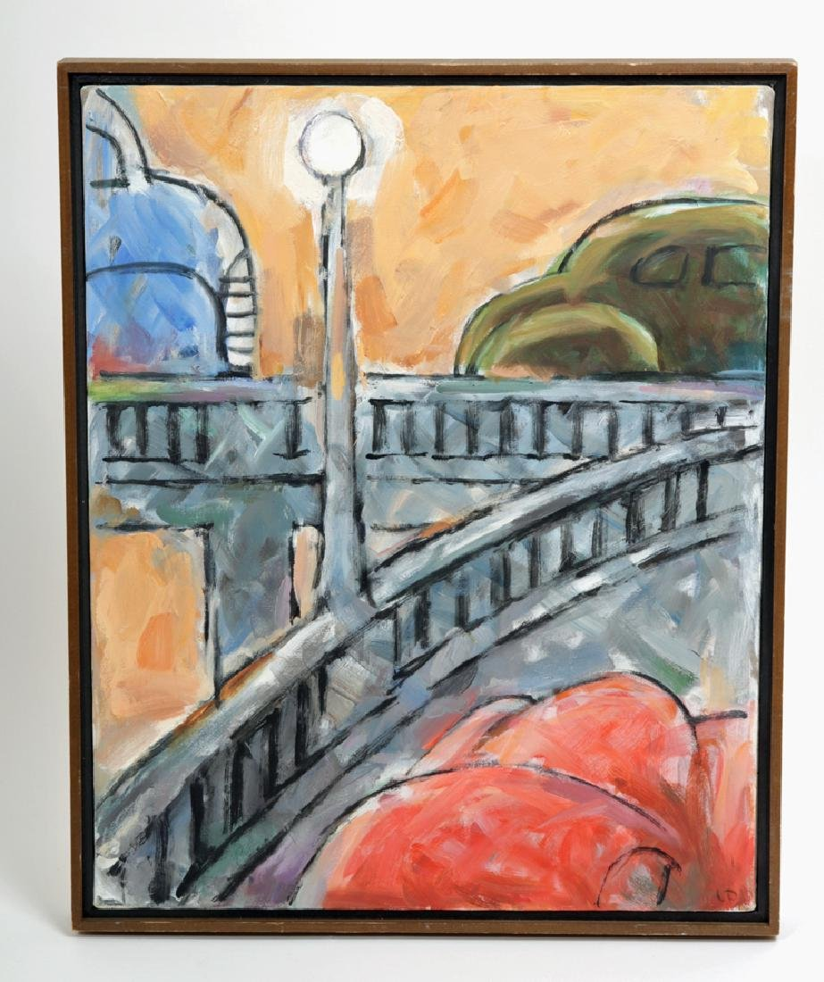 "L. Dennis Painting - ""Merging Traffic"" - 1990"