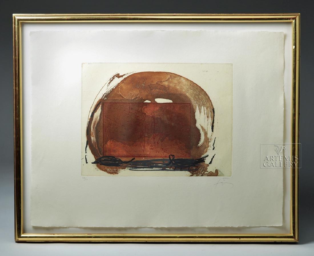 """Antoni Tapies Color Aquatint, """"Crane"""" 1984"""