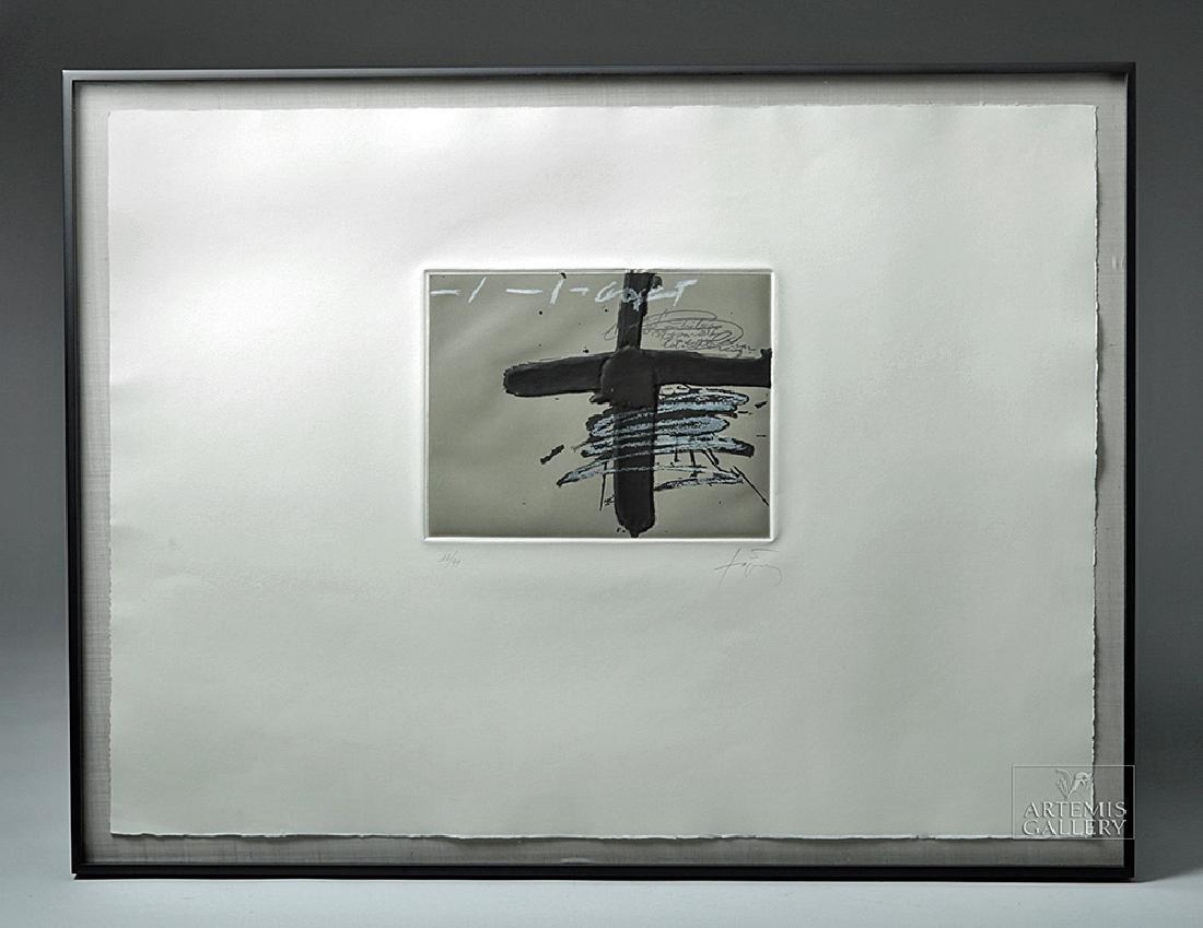 "Antoni Tapies Etching w/ Relief ""Aparicions 8"", 1980s"