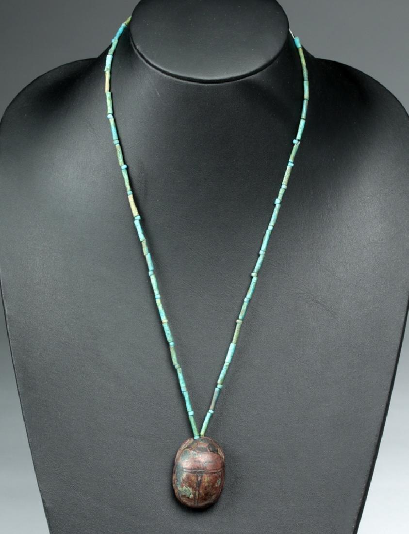 Egyptian Terracotta Heart Scarab & Faience Necklace