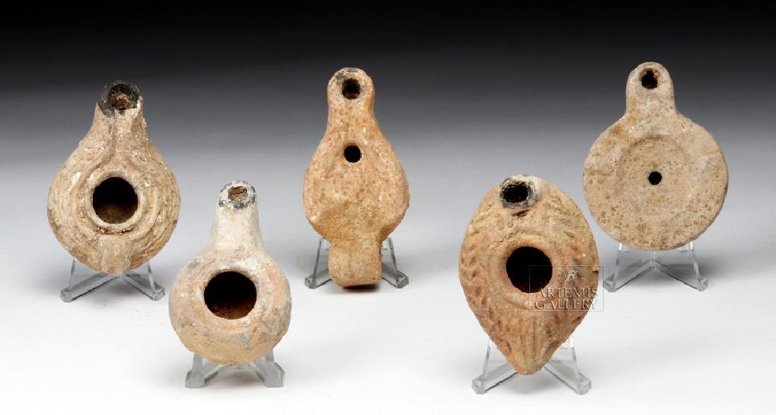 Quintet of Ancient Terracotta Oil Lamps