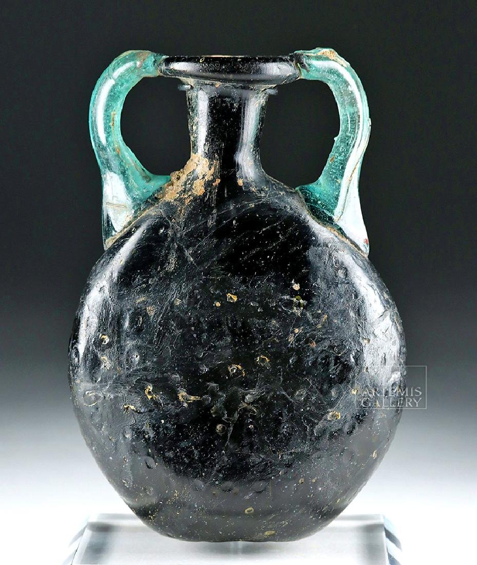 Roman Glass Pilgrim Flask - Cobalt Blue & Aqua