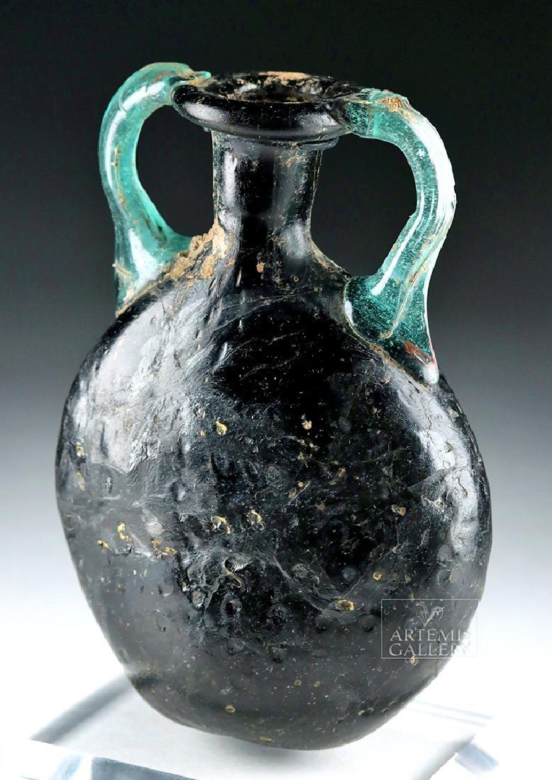 Roman Glass Pilgrim Flask - Cobalt Blue & Aqua - 2