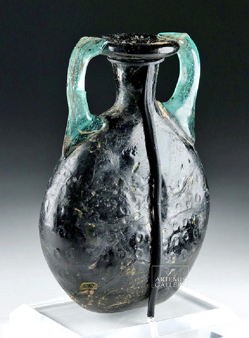 Roman Glass Pilgrim Flask - Cobalt Blue & Aqua - 3