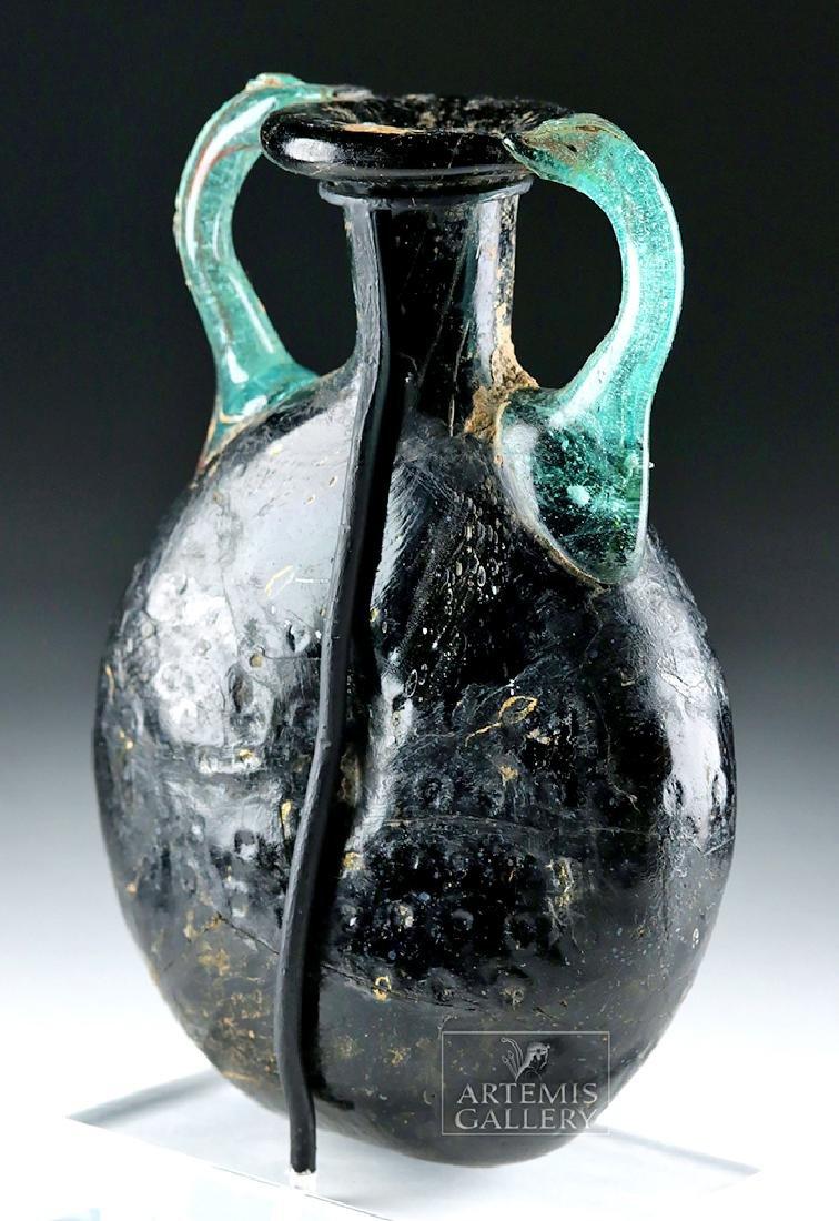 Roman Glass Pilgrim Flask - Cobalt Blue & Aqua - 4