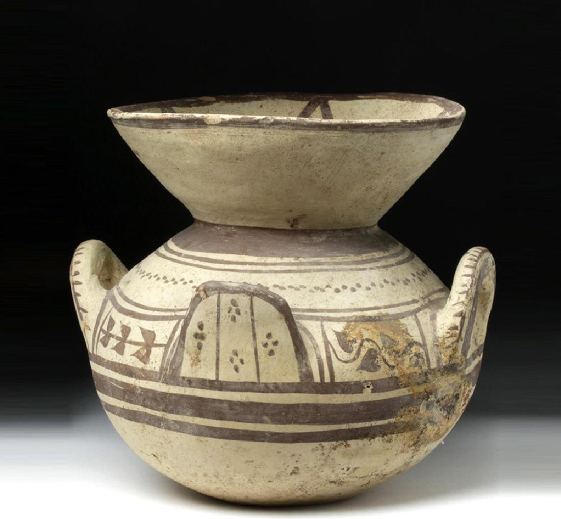 Greek Daunian Bichrome Pottery Funnel Krater