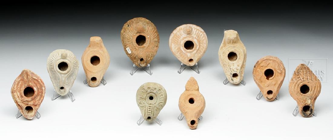 Lot of 10 Holy Land Terracotta Oil Lamps