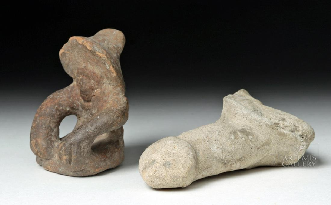 Tumaco Pottery Phallus & Jamacoaque Pottery Figure