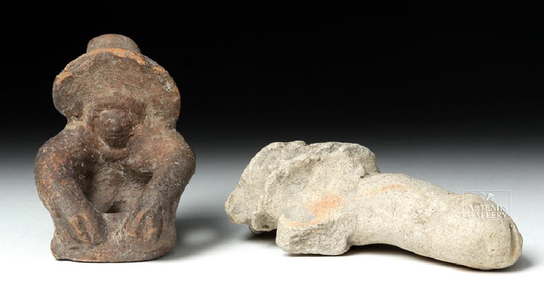 Tumaco Pottery Phallus & Jamacoaque Pottery Figure - 2