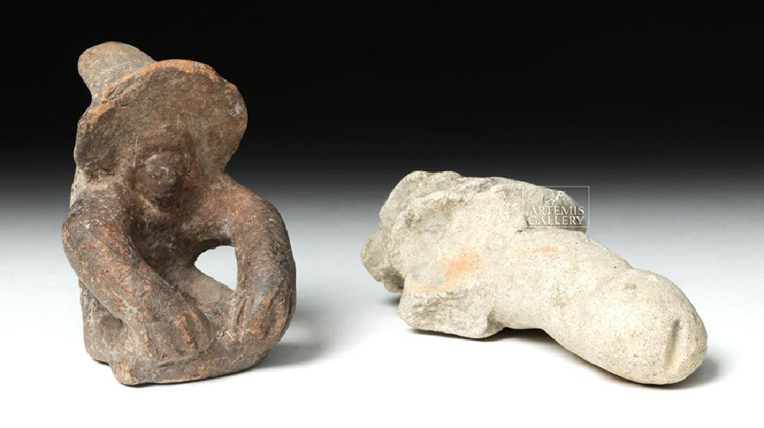 Tumaco Pottery Phallus & Jamacoaque Pottery Figure - 5