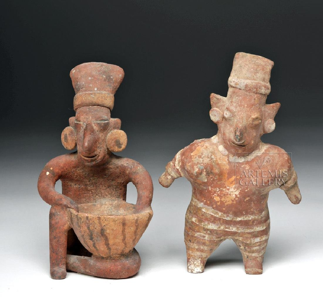 Pair of Jalisco Pottery Sheepface Figures - 2