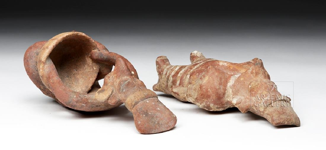 Pair of Jalisco Pottery Sheepface Figures - 6