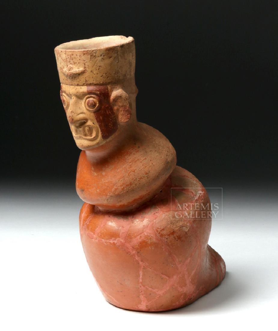Rare Moche Pottery Vessel - Ai Apec in Snail Form