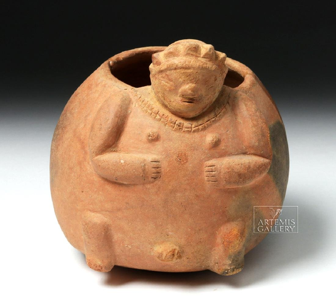 Mayan Pottery Squat Olla in Rotund Human Form - 7