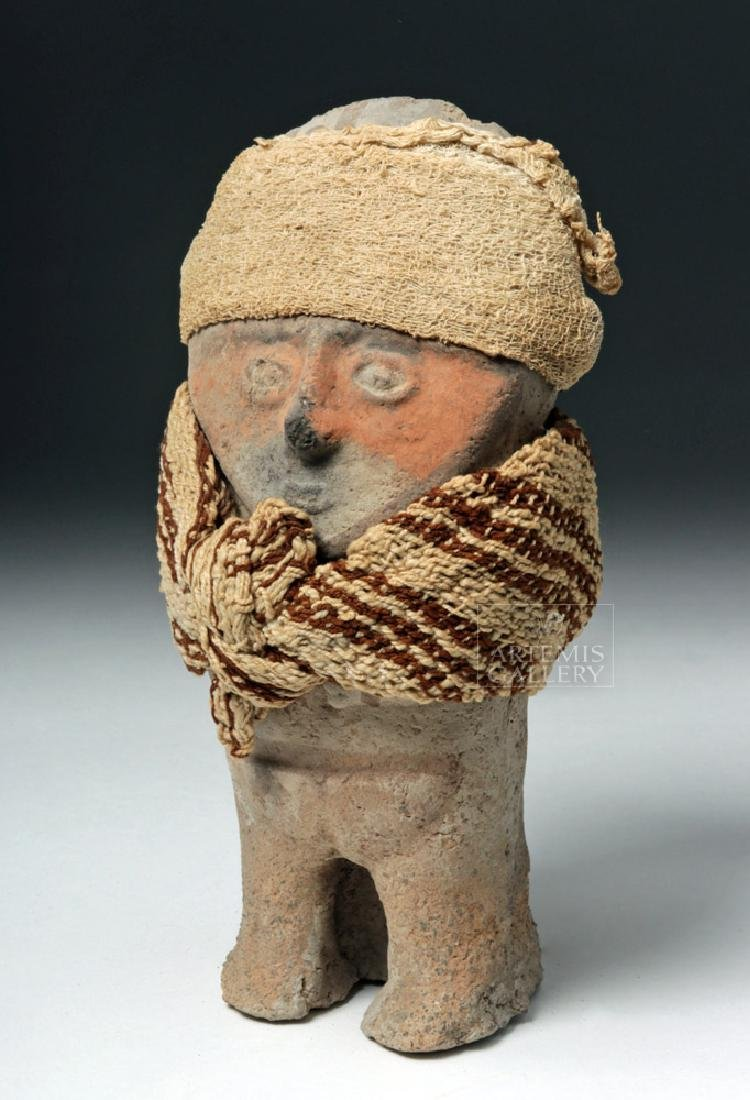 Chancay Terracotta Standing Female w/ Textile Sash
