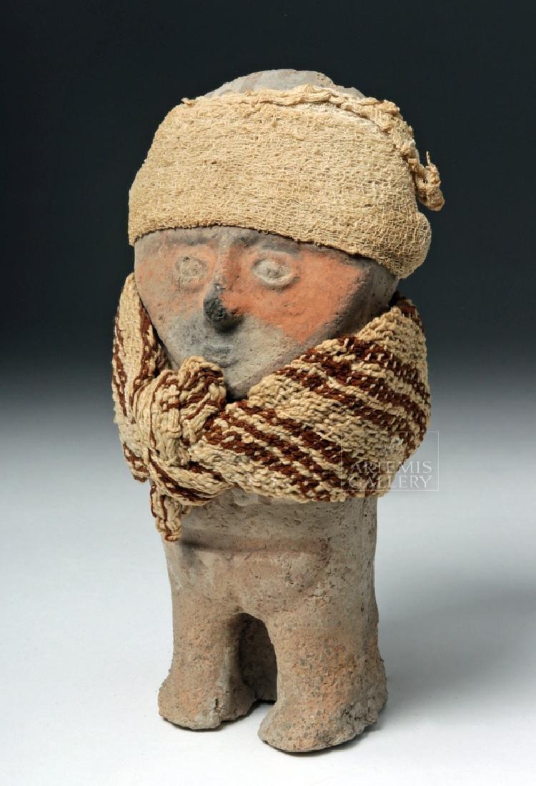 Chancay Terracotta Standing Female w/ Textile Sash