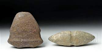 Two Native American Stone Tools - Axe & Weight