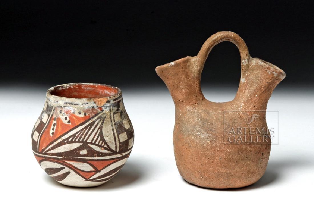 Early Acoma Jar & Tesuque Wedding Pitcher