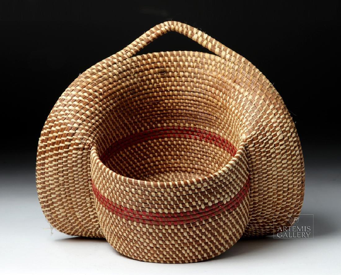 20th C Native American Pine Needle Basket, W. Sylestine