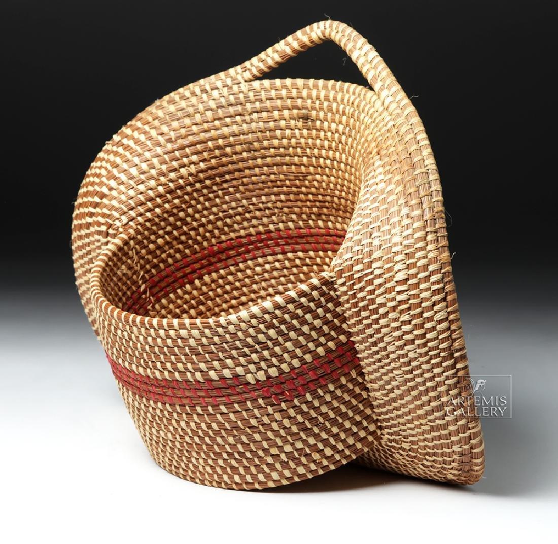 20th C Native American Pine Needle Basket, W. Sylestine - 2