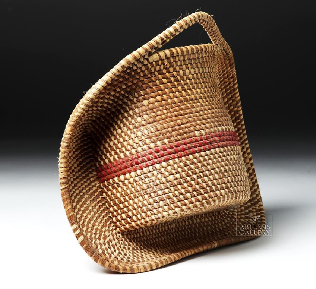 20th C Native American Pine Needle Basket, W. Sylestine - 3
