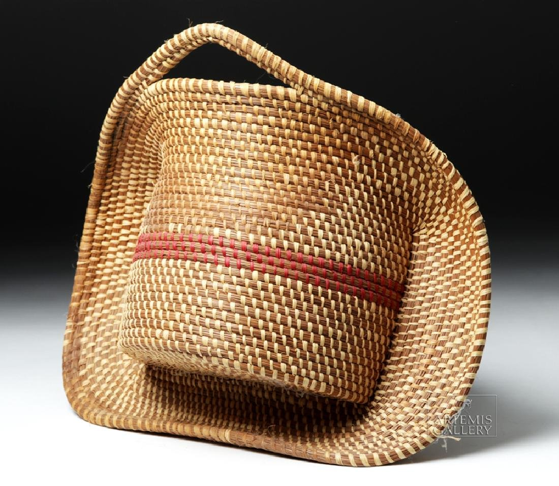 20th C Native American Pine Needle Basket, W. Sylestine - 4