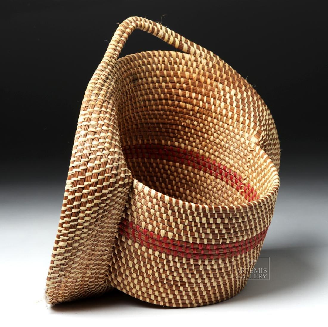 20th C Native American Pine Needle Basket, W. Sylestine - 5