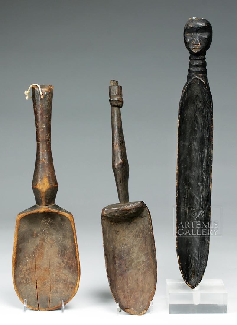 Trio of 20th C. African Dan Wooden Feast Spoons