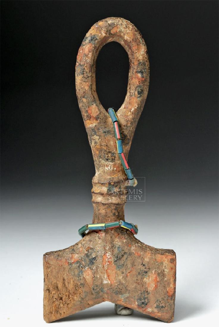 Early 20th C. African Yoruba Wood Shango Staff