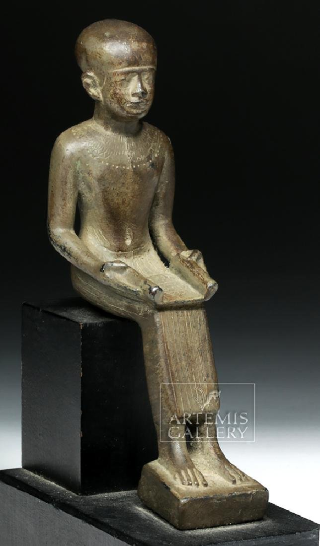 Grand Tour Egyptian Bronze Seated - Architect Imhotep - 2