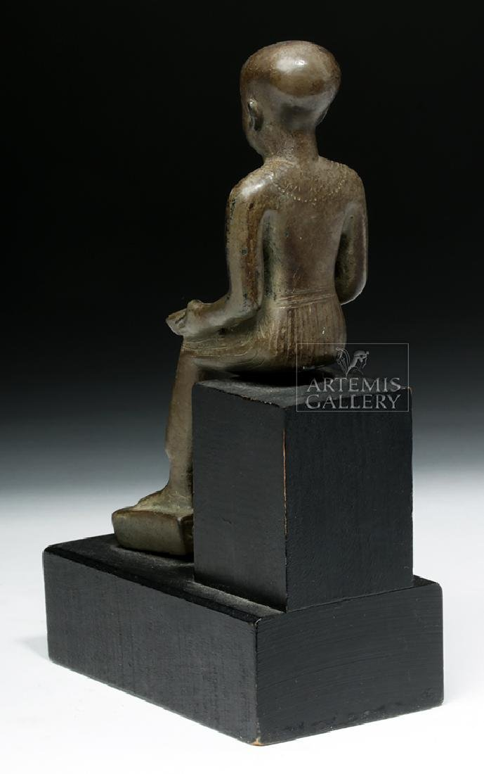 Grand Tour Egyptian Bronze Seated - Architect Imhotep - 4