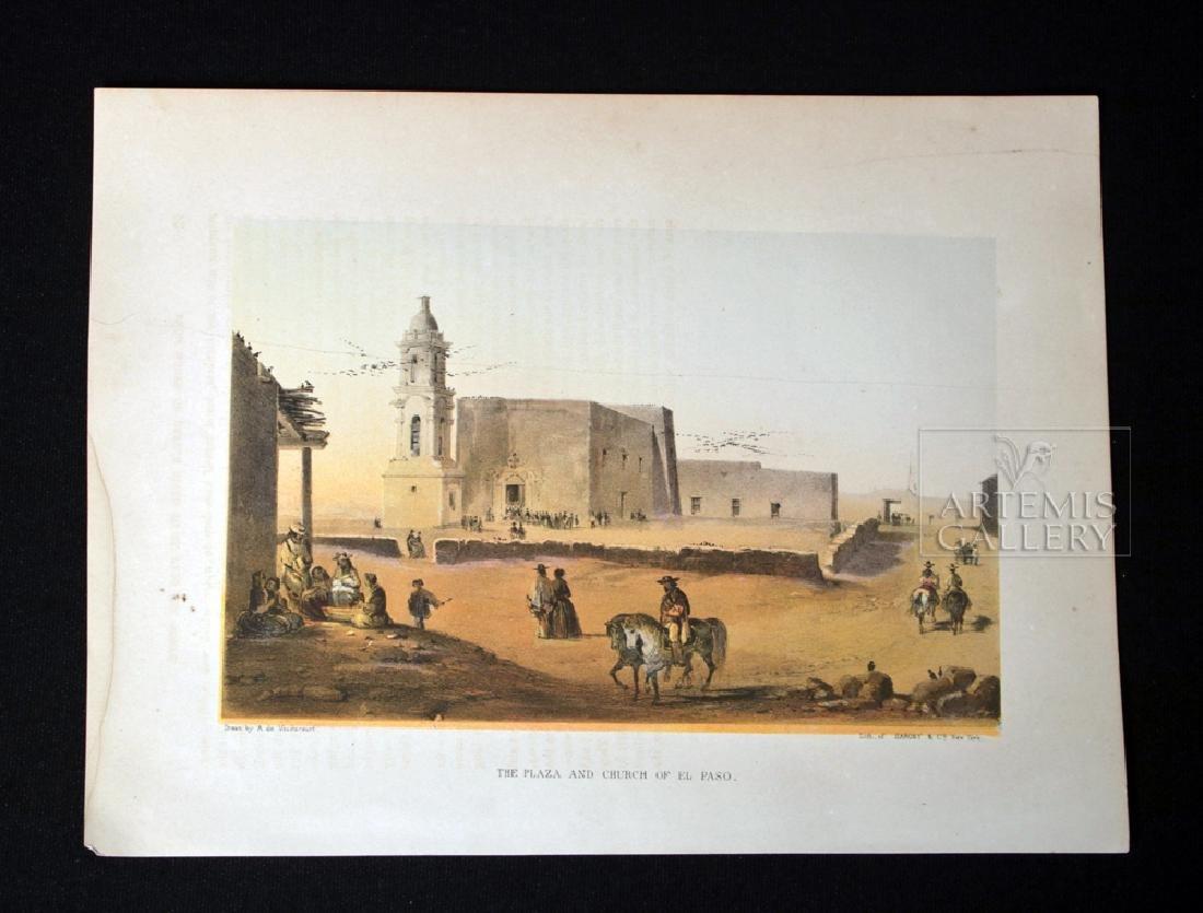 19th C. Color Lithograph - Plaza & Church In El Paso